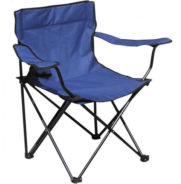 Туристичне розкладне крісло з підсклянником для пікніка та риболовлі до 100 кг Павук 50х50х80 см STENSON синій
