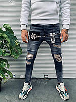 Мужские джинсы зауженые светло-синего цвета с заплатками