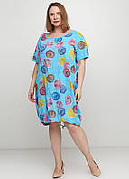 Голубое платье оверсайз Made in Italy с рисунком