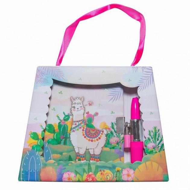 """Блокнот в подарочной сумочке с ручкой-помадой """"Веселая лама"""" 56 листов, Malevaro"""