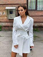 Женский пиджак-платье с поясом, фото 1