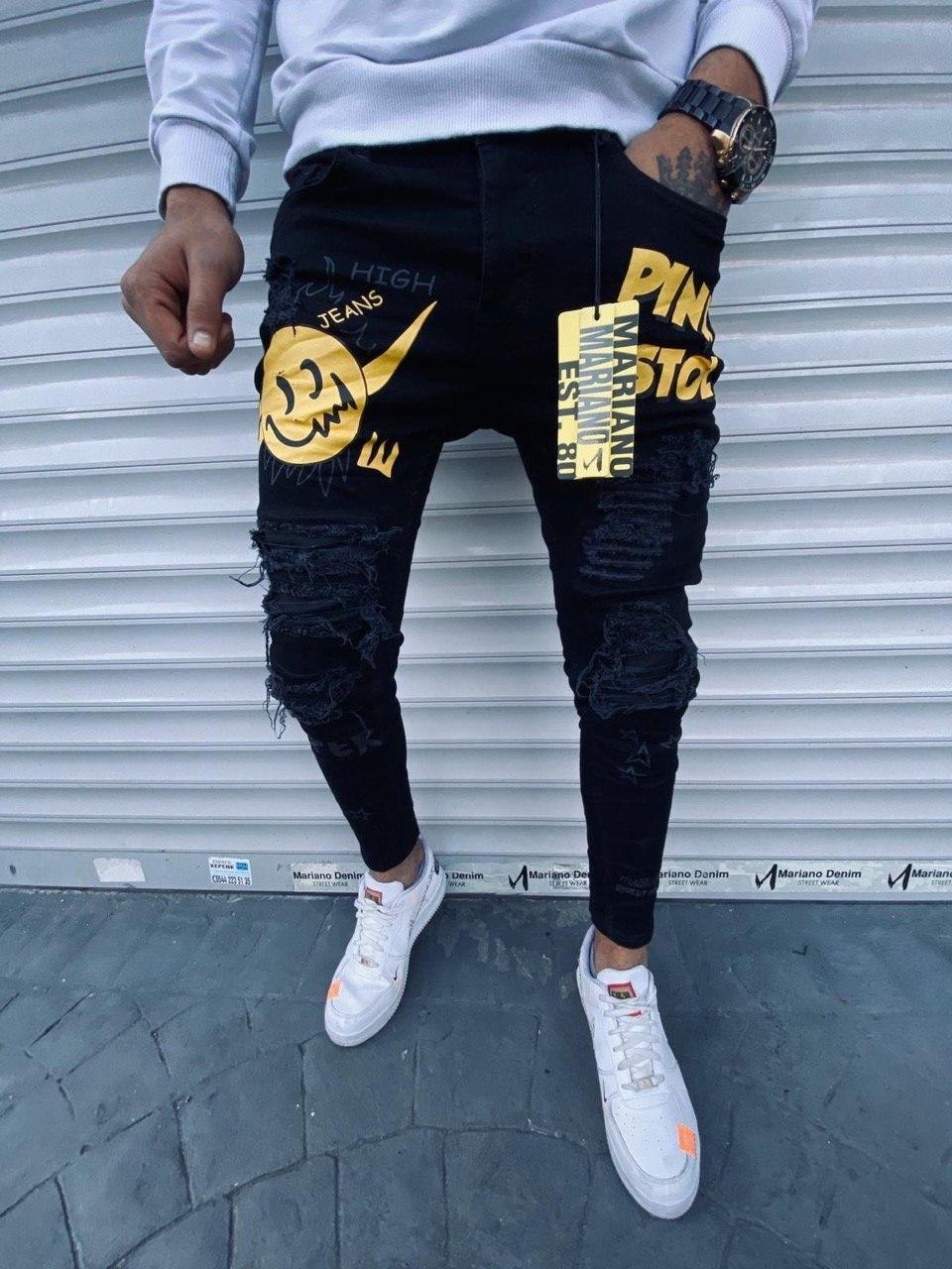Чоловічі джинси зауженые чорні з жовтим