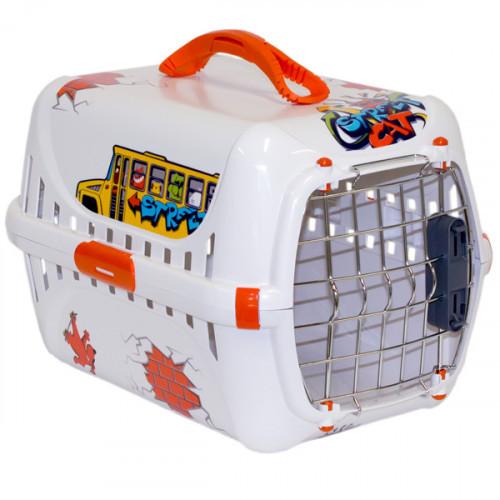 Переноска Moderna Trendy Runner Graffiti Street для кошек и собак, бело-оранжевая, 49.4×30.4×32.2 см
