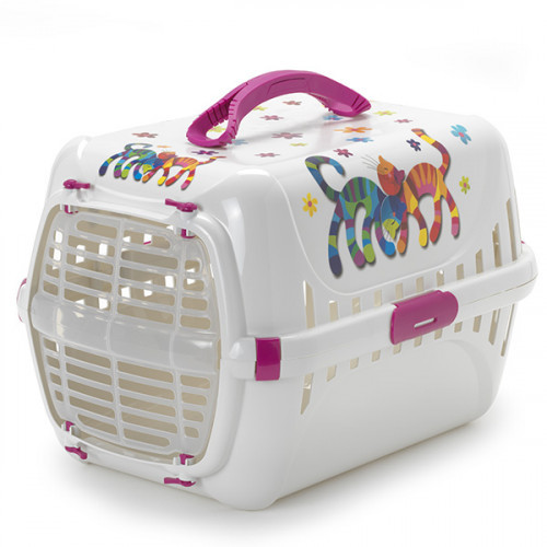 Переноска Moderna Trendy Runner Hot Pink для кошек, пластик, белая, 49×32×30 см