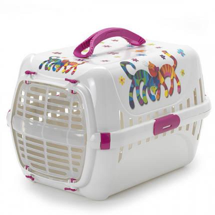 Переноска Moderna Trendy Runner Hot Pink для кошек, пластик, белая, 49×32×30 см, фото 2