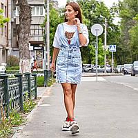 Женская джинсовая юбка с подтяжками