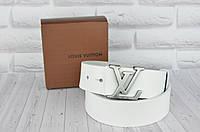 Белый кожаный ремень в стиле Louis Vuitton (Луи Витон) унисекс