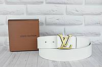 Белый кожаный ремень в стиле Louis Vuitton (Луи Витон)