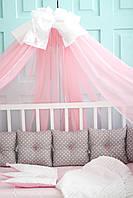 """Детские бортики в кроватку """"Горох белый"""",защита в кроватку для круглой кроватки,серые бортики,корона"""