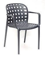 Садовое пластиковое кресло для дачи, террас, веранд, беседок, летних кафе, сада антрацит Gari ARM