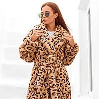 Женская шуба принт леопард