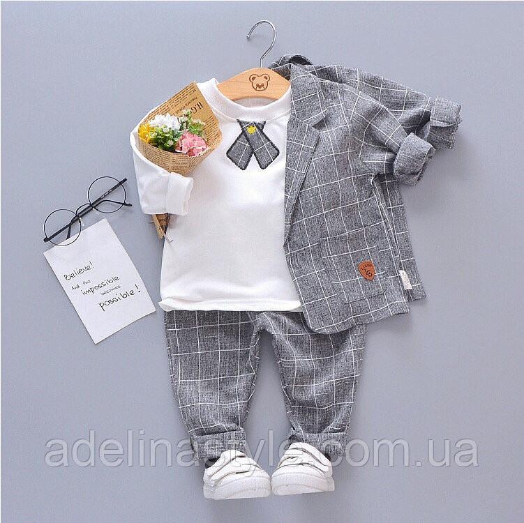 Нарядный костюм тройка на мальчика  джентельмен  серый в клетку 2-3 года