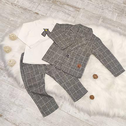 Нарядный костюм тройка на мальчика  джентельмен  серый в клетку 2-3 года, фото 2