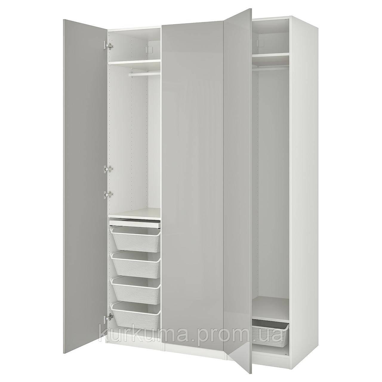 IKEA PAX / FARDAL Шкаф, белый, высокий блеск светло-серый, 150x60x236 см (493.292.13)