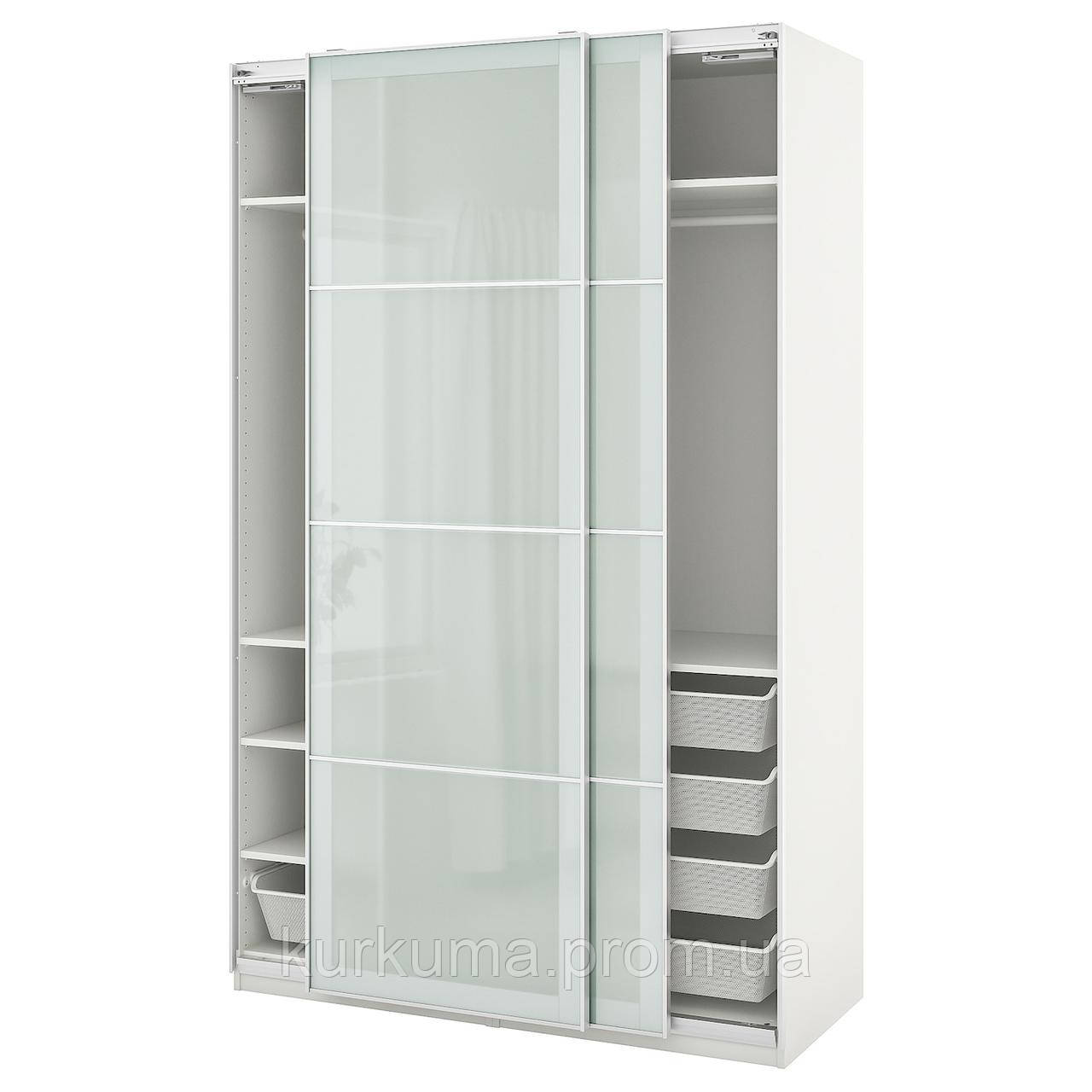 IKEA PAX / SEKKEN Шкаф, белое, матовое стекло, 150x66x236 cm (793.301.92)
