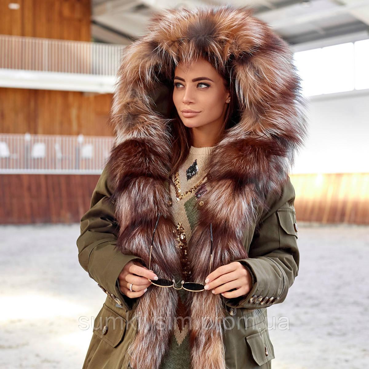 Женская зимняя парка удлиненная  с мехом чернобурки