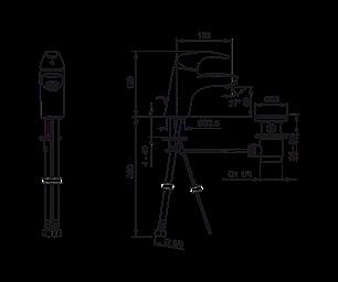 1400F Polara змішувач для умивальника з донним клапаном, фото 2