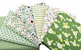 Яркий набор зеленой ткани - 7 отрезов 40*50 см, фото 2