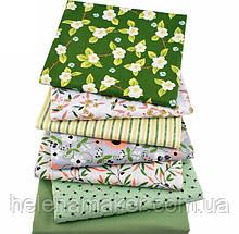 Яркий набор зеленой ткани  - 7 отрезов 40*50 см