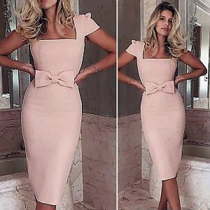 Пудровое платье с бантом (Код MF-206)