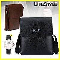 Чоловіча сумка через плече Polo Videng Leather + годинник Daniel Wellington в Подарунок, фото 1