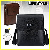 Мужская сумка через плечо Polo Videng Leather + часы Daniel Wellington в Подарок