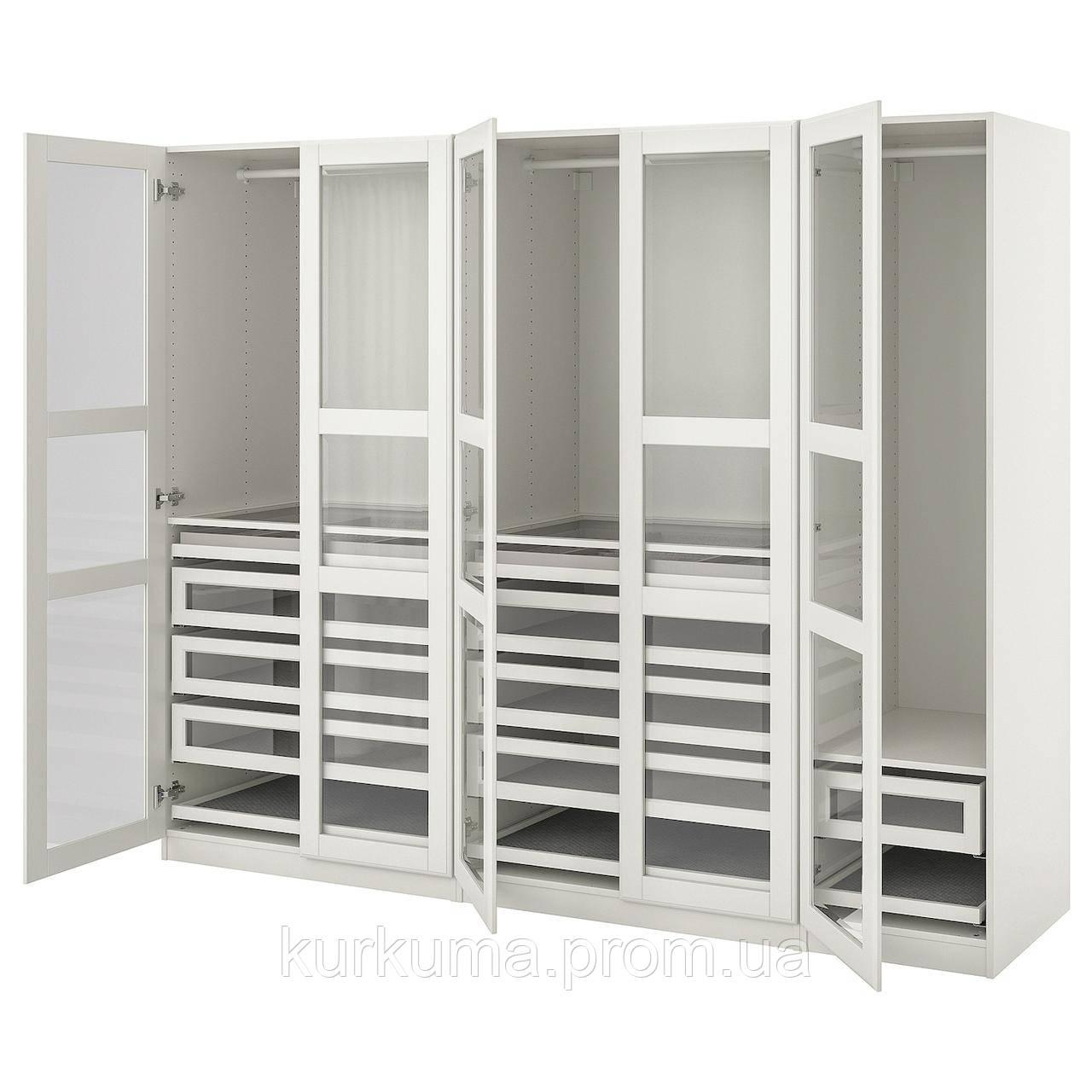 IKEA PAX / TYSSEDAL Шкаф, белое, белое стекло, 250x60x201 см (893.249.49)