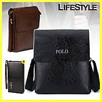 Мужская сумка через плечо Polo Videng Leather + Мужское портмоне Baellerry Leather в Подарок