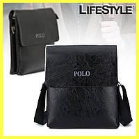 Чоловіча сумка через плече Polo Videng Leather (Чорна), фото 1