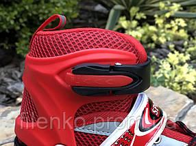Роликовые коньки раздвижные In Lin Skate 129A Ролики с подсветкой колес (M 34-38) Красные, фото 3