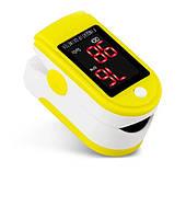 Пульсоксиметр на палец JZK-301 для изменения пульса и сатурации крови Pulse Oximeter Yellow + чехол (MAS40450)