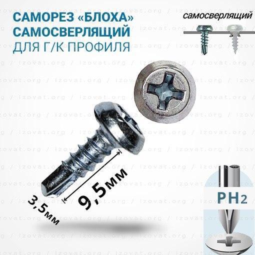 Саморезы по металлу самосверлящие 3,5х9,5мм (Блоха) для металлопрофилей. Упаковка - 1000шт (Цинк)