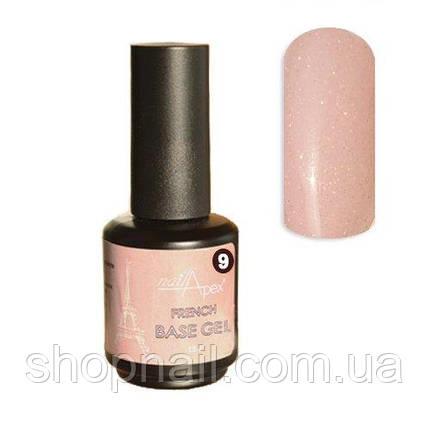 Камуфляжная база Опал №9 Нежно розовая полупрозрачная с шиммером (15мл), фото 2