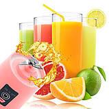 Аккумуляторный блендер Smart Juice Cup Fruits , синий c 4 лезвиями, фото 2