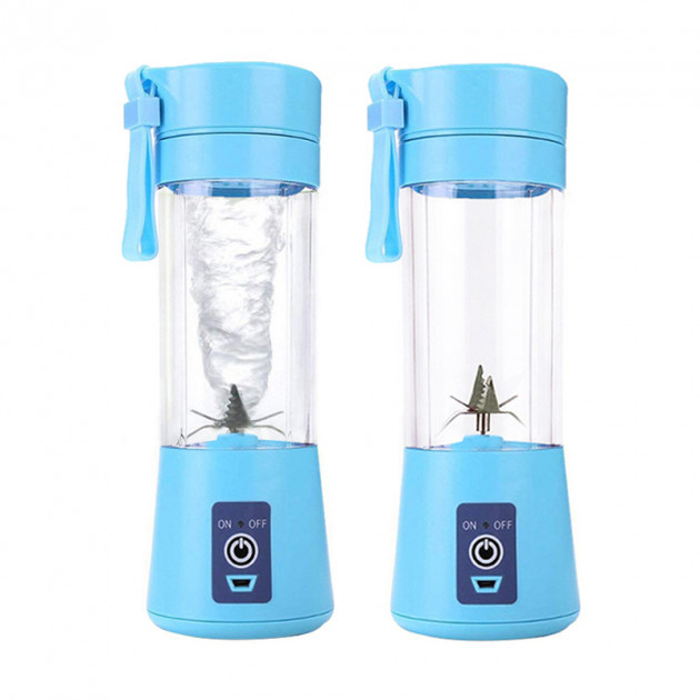 Аккумуляторный блендер Smart Juice Cup Fruits , синий c 4 лезвиями