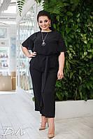 Нарядный женский костюм с бриджами большие размеры /р15330 черный, фото 1