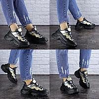 Женские черные кроссовки Button 1745 Эко-кожа  Размер 40 - 25 см по стельке, обувь женская