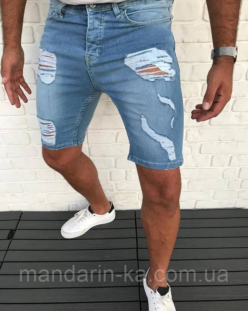 Мужские джинсовые шорты голубые рваные
