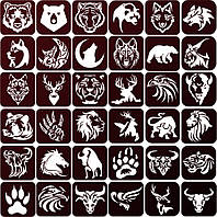 Трафареты Животные для травления метала 6x6, 36 шт. в наборе