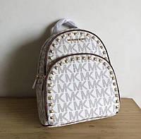 Женский кожаный рюкзак Michael Kors beige (8790) Lux