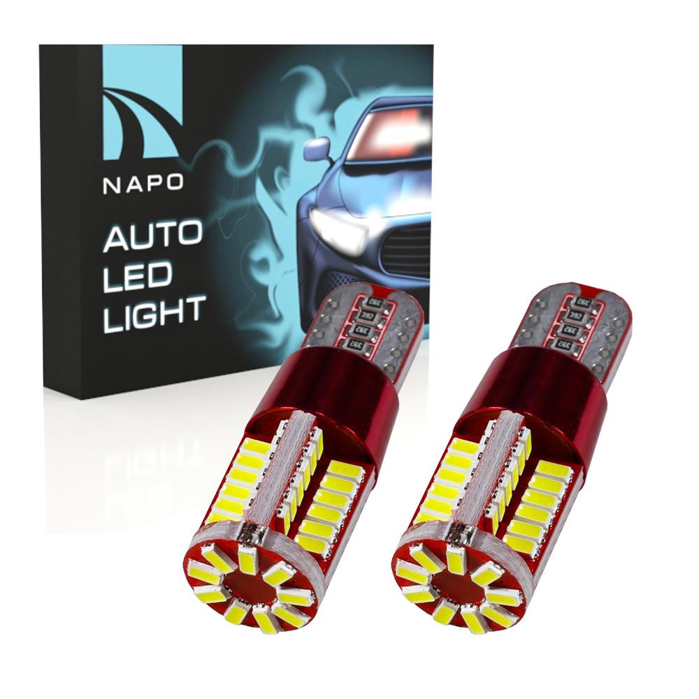 Автолампа диодная T10-3014-57smd-CAN.t10-047, комплект 2 шт, W5W, 194, 168, цвет свечения белый
