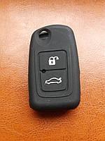 Чехол (черный, силиконовый) для выкидного ключа CHERY (Чери) 2 кнопки