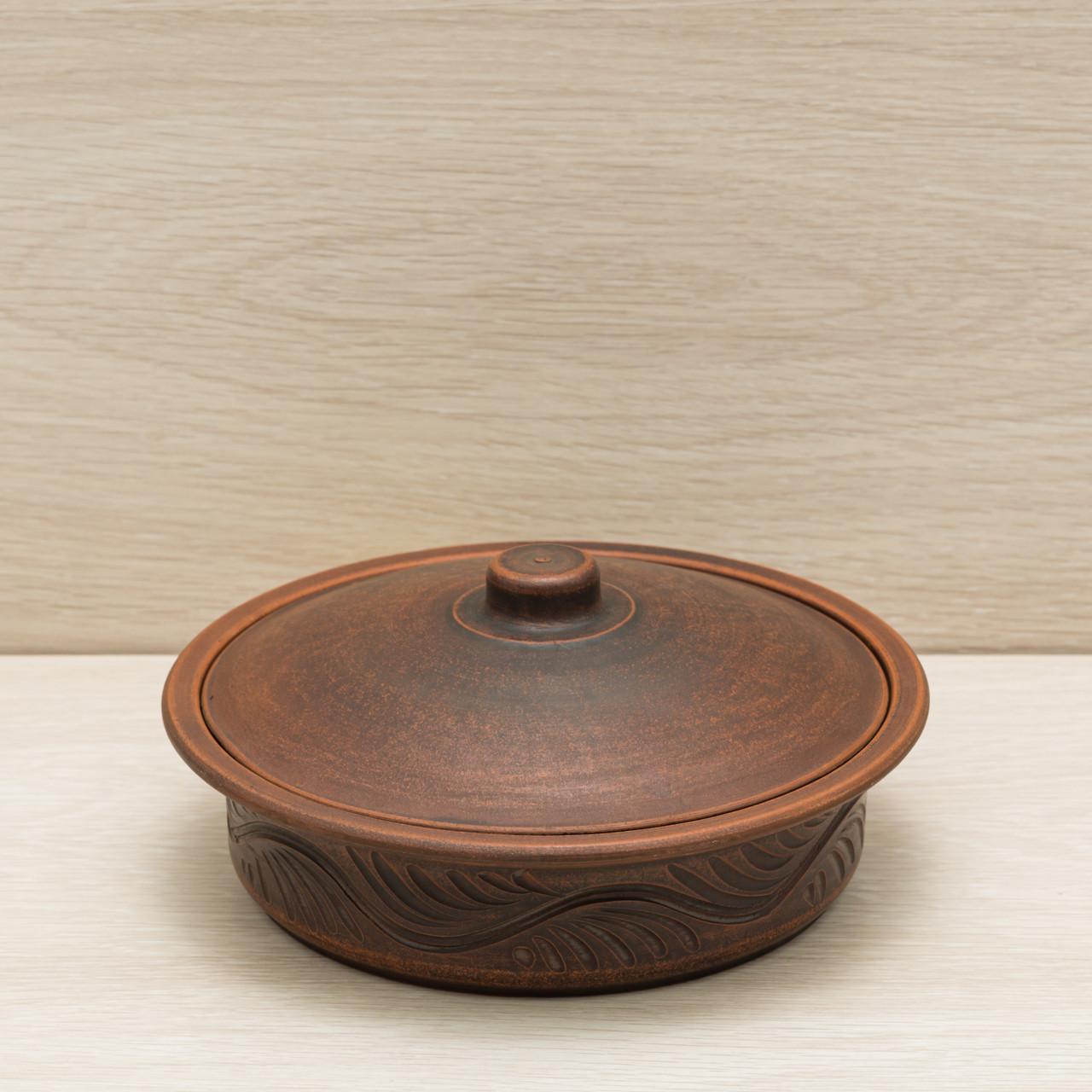 Сковорода малая с крышкой, красная глина, 0,75л