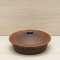 Сковорода малая с крышкой, красная глина, 0,75л, фото 1