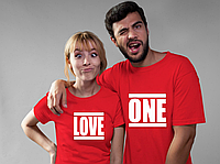 Парные футболки. Футболки для влюбленных. LOVE ONE. Любовь