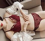 Комплект нижнего белья Lux4ika размер 80В классический с кружевами Красный (n-542), фото 2