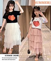 Літній комплект для дівчинки, спідниця та футболка / Летний комплект для девочки, юбка и футболка, на лето