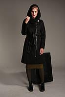 Демисезонное женское пальто из кашемира А-23 с довязом