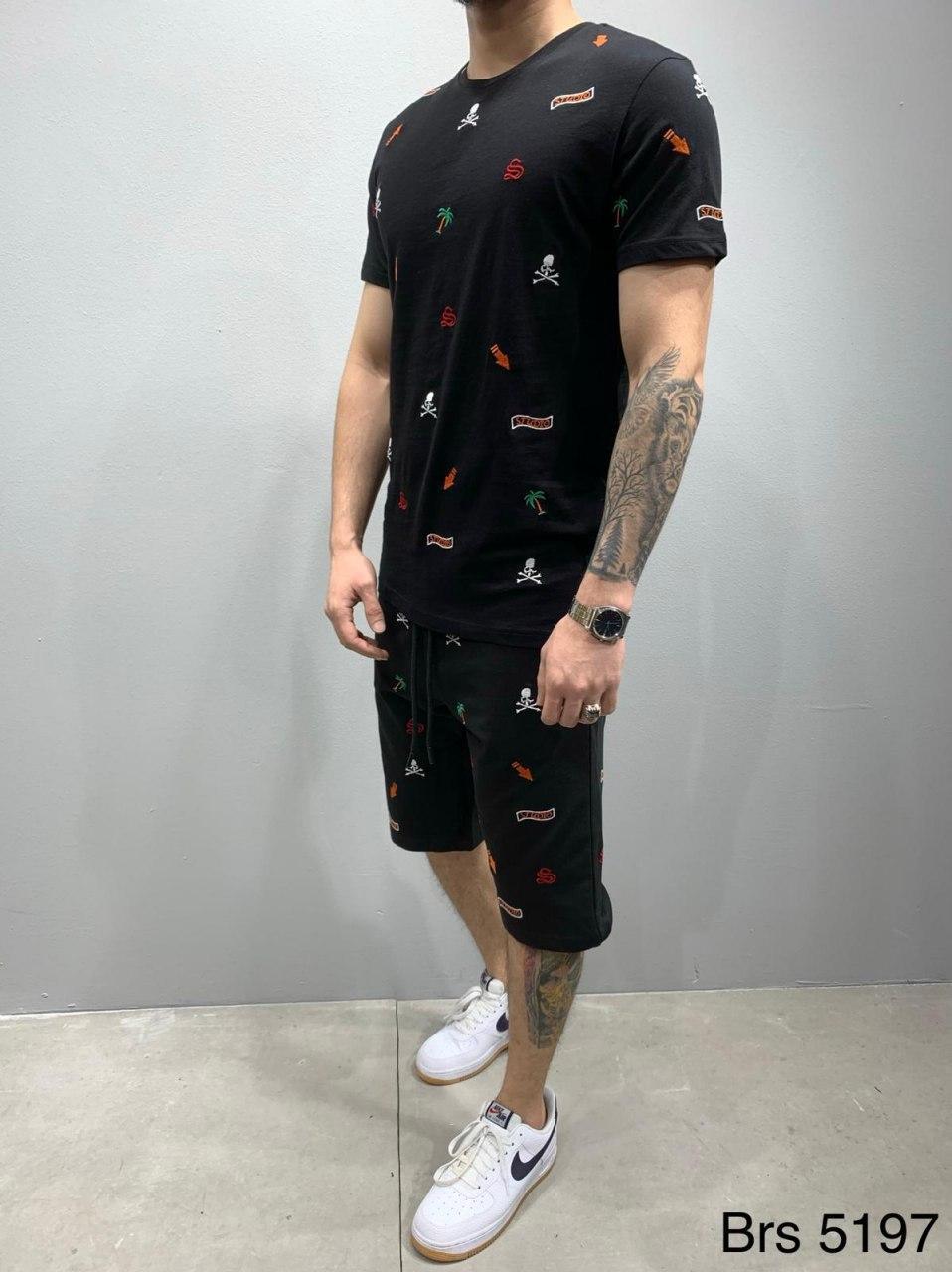 😜 Шорты - Мужской комплект шорты и футболка черного цвета