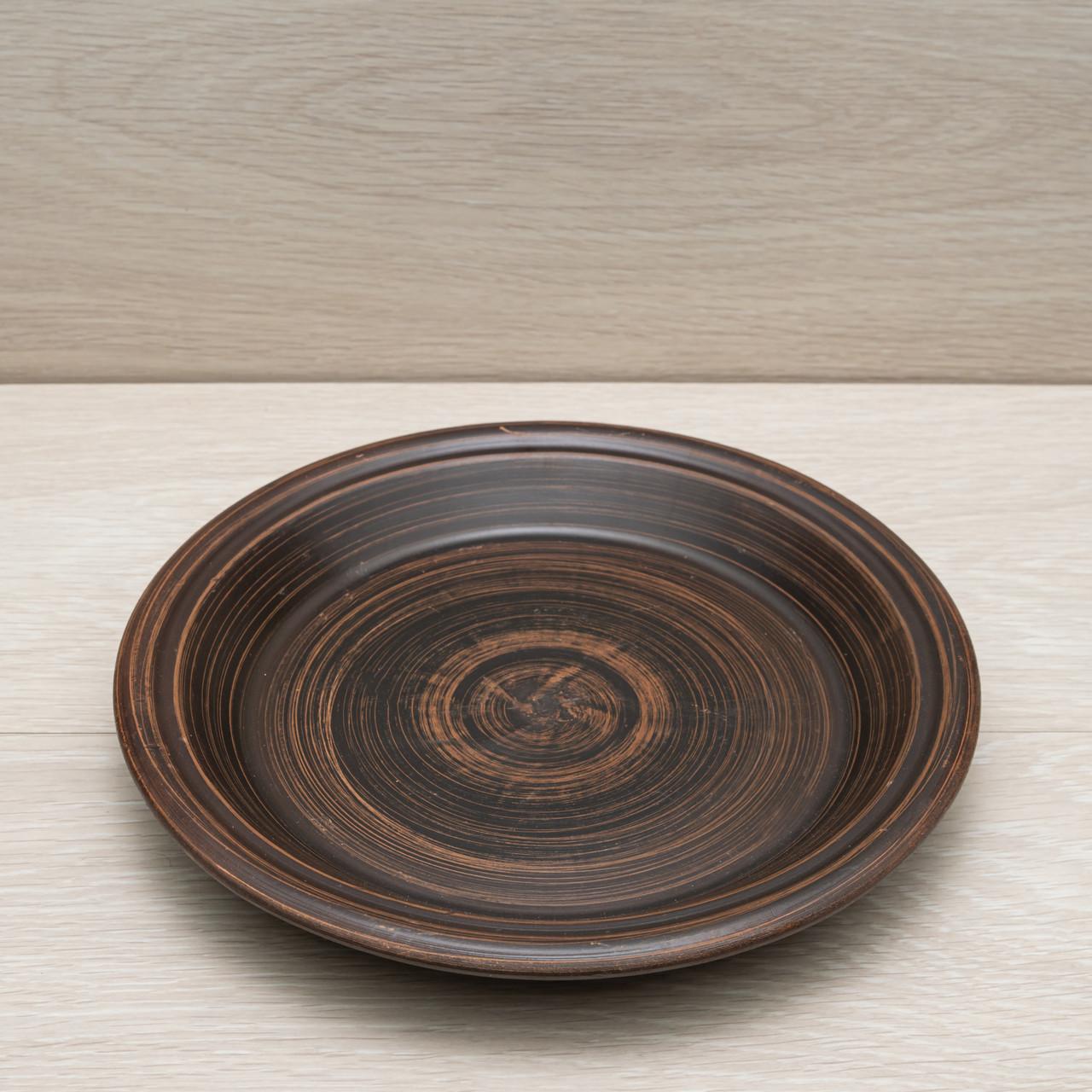 Тарелка глубокая из красной глины, диаметр 24 см